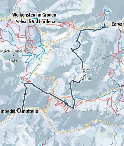 Karte / Mit Ski durch die Dolomiten - Etappe 2: Vom Val di Fassa über die Sella nach Kolfuschg