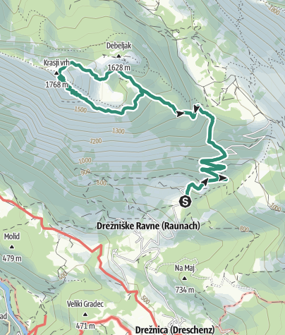 Map / Mt. Krasji vrh (1773 m), a mighty sightseeing hill above the Soča Valley