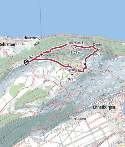 Map / Bürgenstock Felsenweg - partly closed