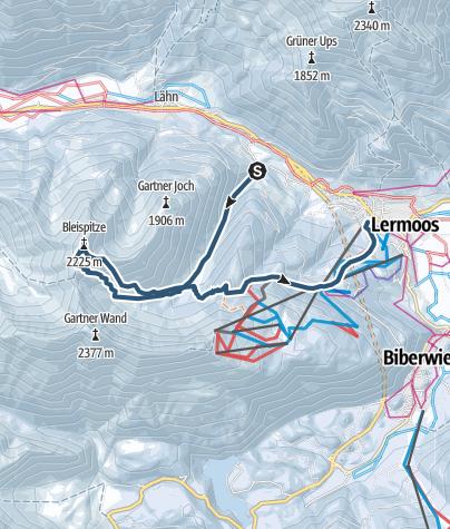 Karte / Bleispitze (2225m) von Untergarten bei Lermoos