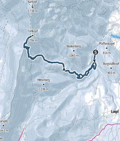 Karte / Törlkopf (1.704 m) - Skitour für die Einsamkeit