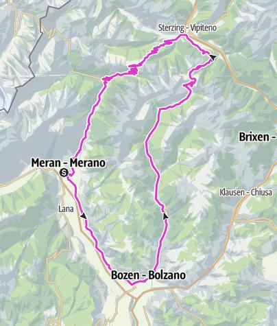 Karte / Gipfelstürmer mit Penser Joch und Jaufenpass