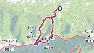 Karte / Črna prst (vorbei an der Hütte Orožnova koča und über die Alm Za Črno goro)