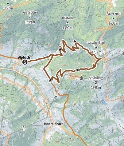 Karte / MTB-Route 308 Rundweg Thaleralm - Sieglbichlalm (Alpbach)