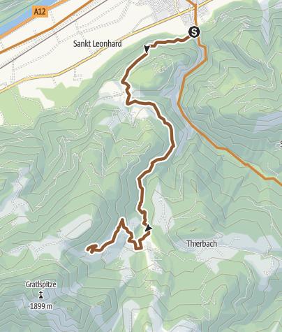 Karte / MTB-Route 340 Kundl-Saulueg-Thierbach-Holzalm(Variante Holzalm)