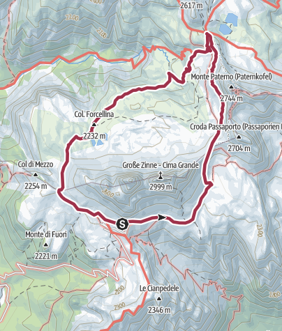 Karte / Vom Rifugio Auronzo um die Drei Zinnen