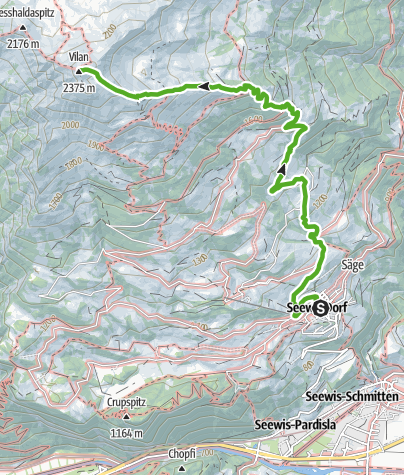 Map / From Seewis up to the peak of the mountain Vilan