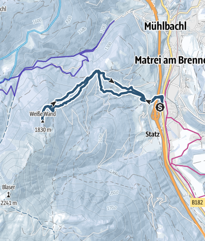 Karte / Weiße Wand (1830 m) von Matrei am Brenner