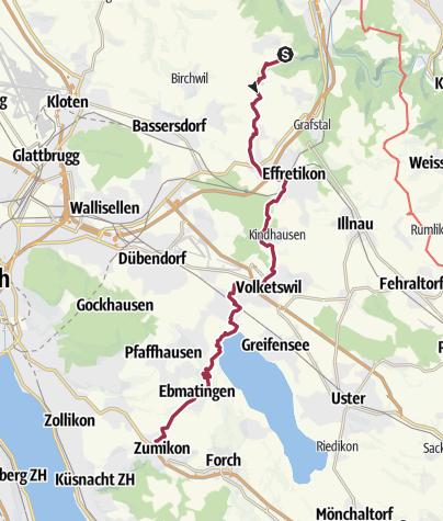 Mapa / Pforzheim – Mittelmeer: 10.Etappe Brütten - Zumikon
