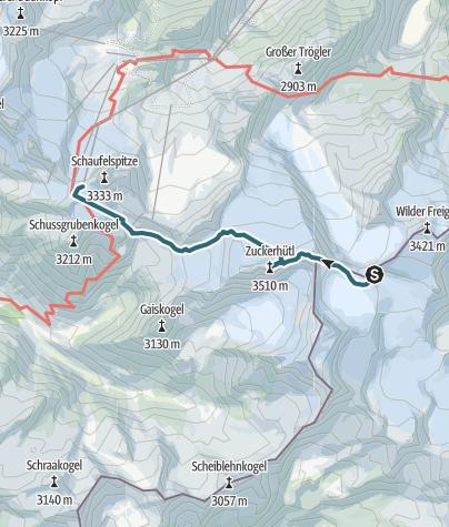 Karte / Von der Müllerhütte auf den Wilden Pfaff, das Zuckerhütl und zu Seilbahnstation Eisjoch