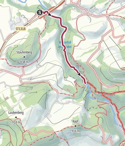 מפה / טיול לשמורת המפלים אייסטובל (Eistobel)