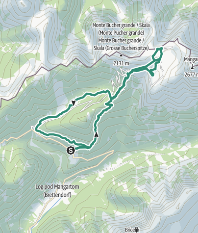 Map / Tour to the Mangart Mountain pass along the former shepherds' trails