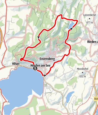 """Karte / Terrainkurweg """"Rundweg von Hopfen zum Faulensee"""""""