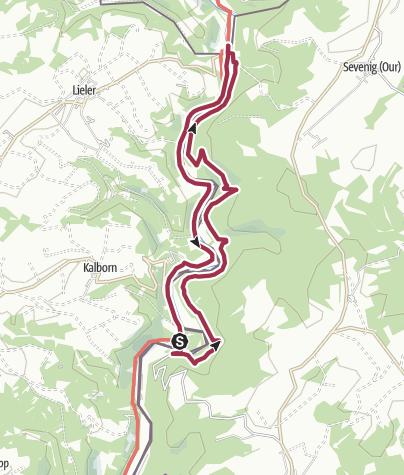 Karte / NaturWanderPark delux: Nat'Our Route 1 (L-Tintesmühle/B-Ouren)
