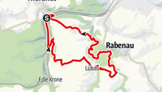 """Karte der Tour 16. Wanderroute """"(Ent)führung in der Forststadt Tharandt und Sidonie"""""""