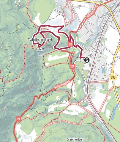 Karte / Tscheltschnigkogel (696m) von Therme Villach