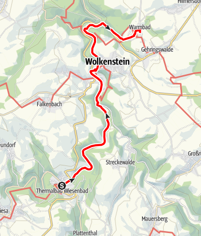 Karte / Bäderweg Thermalbad Wiesenbad - Warmbad