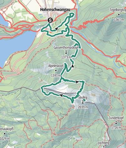 Karte / Schwangau - Säuling und um den Pilgerschrofen