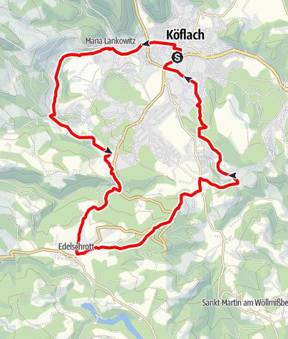 Karte / Hans Kloepfer Rundwanderweg - mit Abkürzung über 550er Weg
