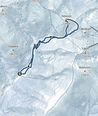 Karte / Skitour auf den Steinnock (Ostanstieg)