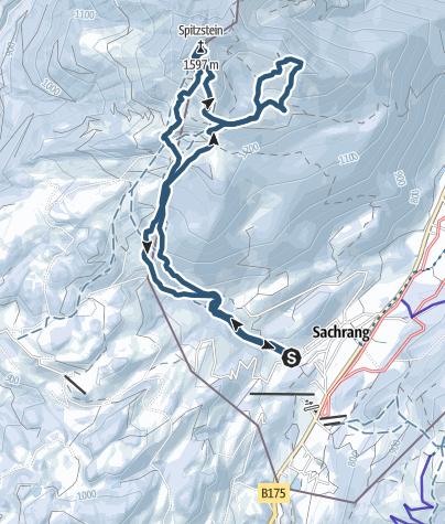 Karte / Spitzstein (1.596 m) - Modeskitour mit einsamer Variante auf die Tristmahlnschneid (1.452 m)
