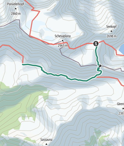 Mapa / Übergang von der Totalphütte zur Schesaplanahütte (Gamsluggen)