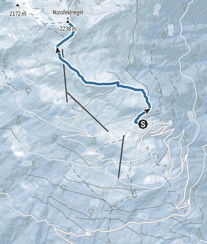 Karte / Schneeschuhwanderung zum Naßfeldriegel