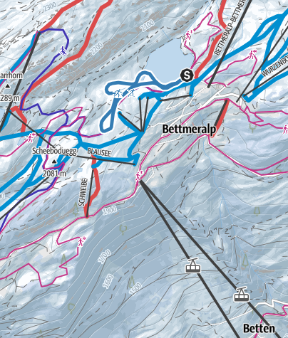 Map / Cross-country skiing trail near Bettmersee, Bettmeralp