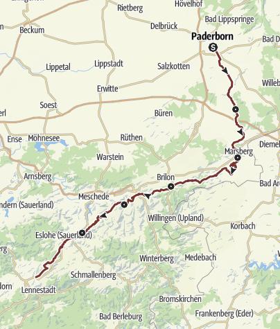 Karte / Jakobsweg Paderborn-Elspe