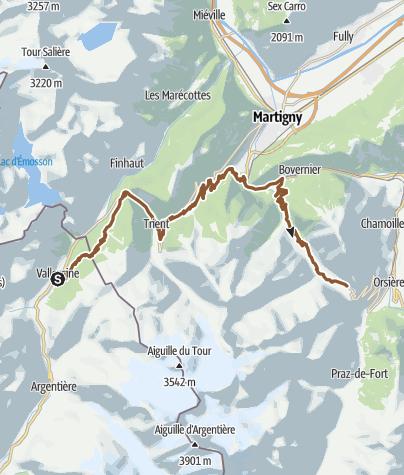 Map / Tour du Mont-Blanc Bike Vallorcine - Champex-Lac