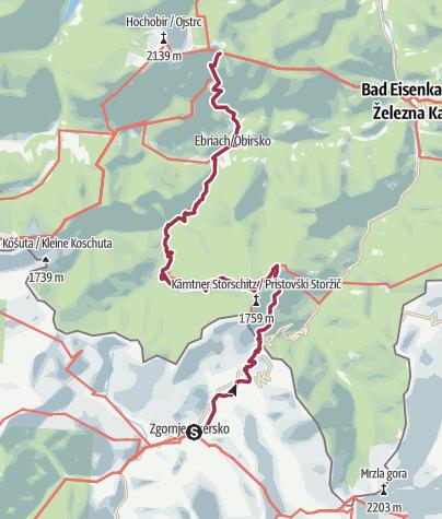 Map / Via Alpina Slovenia: Purple Trail: Stage 10 (Zg.Jezersko- EisenkapllerHuete)