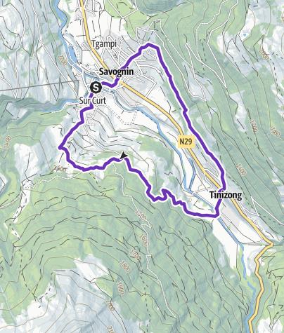 Karte / Trailrun leicht / Tinizong - Parseiras - Savognin - Tinizong