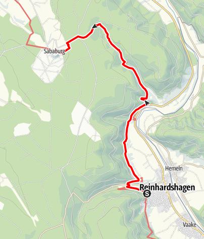 Karte / Weserbergland-Weg, 2. Etappe: Reinhardshagen/ Veckerhagen bis Sababurg