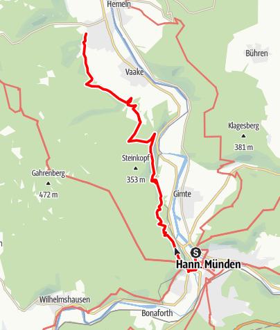 Karte / Weserbergland-Weg, 1. Etappe: Hann. Münden bis Reinhardshagen/ Veckerhagen