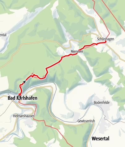 Karte / Weserbergland-Weg, 4. Etappe: Bad Karlshafen bis Schönhagen