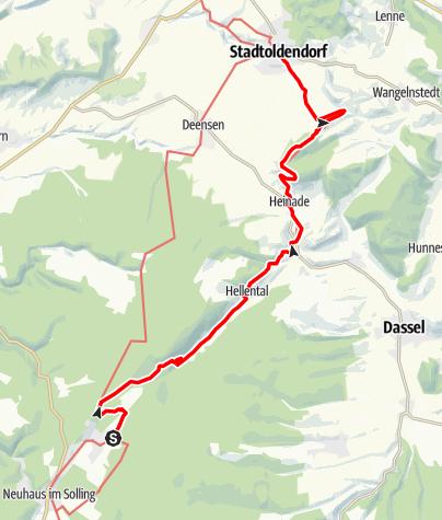 Karte / Weserbergland-Weg, 6. Etappe: Silberborn bis Stadtoldendorf