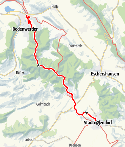 Karte / Weserbergland-Weg, 7. Etappe: Stadtoldendorf bis Bodenwerder