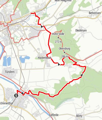 Karte / Weserbergland-Weg, 10. Etappe: Emmerthal bis Rohrsen
