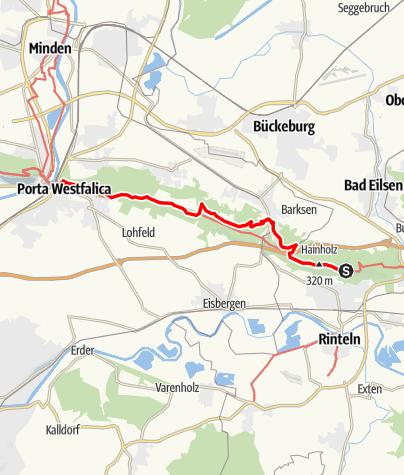 Karte / Weserbergland-Weg, 13. Etappe: Rinteln bis Porta Westfalica