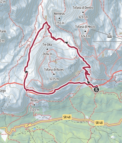 Karte / Umrundung der Tofana di Rozes