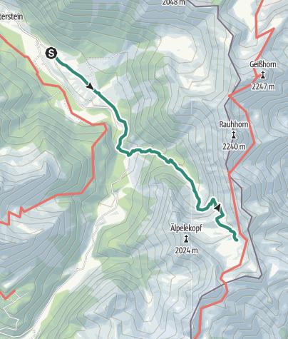 מפה / מסלול טיול מהכפר הינטרשטיין (Hinterstein) לאגם שרקזה (Schrecksee)