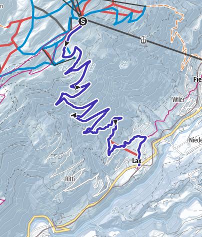 Karte / Schlittelweg Fiescheralp - Lax