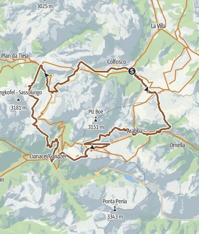 Map / MTB Tour Sellaronda counterclockwise