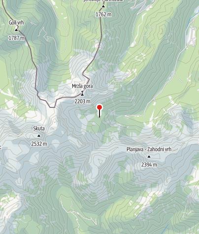 Karte / südwestlich des Logatals: Frischautov dom na Okrešlju-
