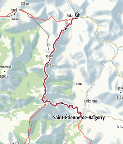 Carte / GR10® - De Bidarray à Saint-Etienne de Baïgorry