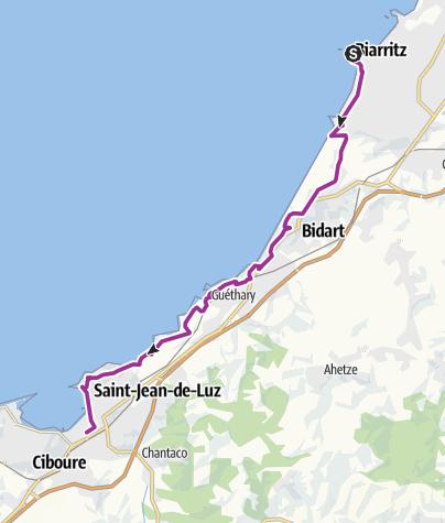 Carte / La Vélodyssée - De Biarritz à St Jean de Luz