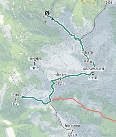 Karte / Überschreitung Hoher Göll