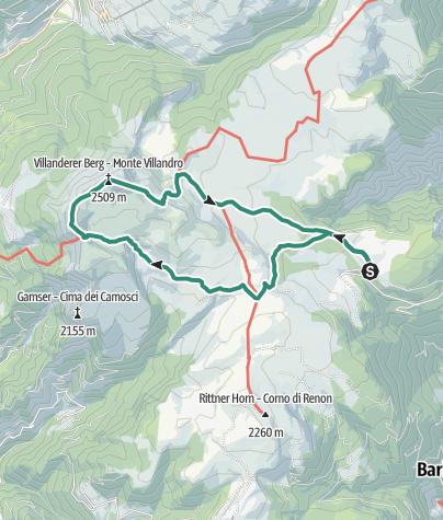 Карта / Von der Villanderer Alm zur Sarner Scharte und zum Villanderer Berg