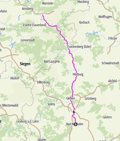 Karte / Schleifenroute DE 2019 - Teamradtour München-Hamburg-Konstanz Etappe 4 von 14 (Bad Nauheim-Meschede)