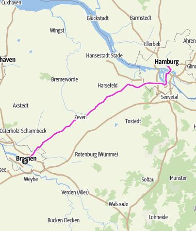 Mapa / Schleifenroute DE 2019 - Teamradtour München-Hamburg-Konstanz Etappe 7 von 14 (Bremen-Hamburg)